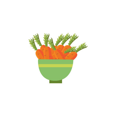Ripe raw carrot with green halm leaves in ceramic pot icon. Orange healthy food, vegetable full of vitamins. Fresh nutritions source dieting and healthy life style symbol. Vector illustration isolated Stock Illustratie