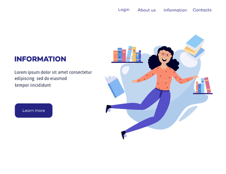Woman in information surroundings - smiling flat cartoon female character flying in environment of books and notepads on web banner template. Isolated vector illustration.