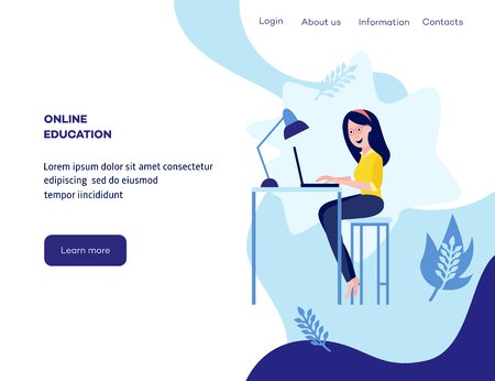 Online distant education concept poster with young girl student sitting at desk typing on laptop smiling on blue background with abstract shapes, leaves, space for text. Vector cartoon illustration