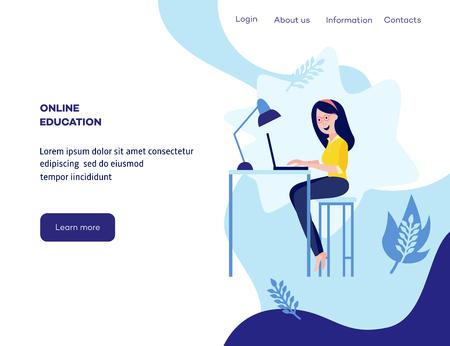 Online verre onderwijs concept poster met jonge studente zit aan bureau te typen op laptop glimlachend op blauwe achtergrond met abstracte vormen, bladeren, ruimte voor tekst. Vector cartoon illustratie