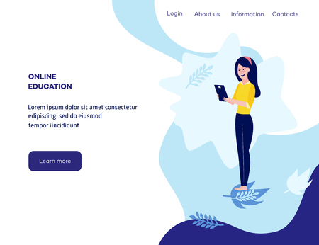 Online distant education concept poster with young girl student standing holding graduation diploma smiling on blue background with abstract shapes, leaves, space for text. Vector cartoon illustration Ilustração