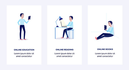 Online distant education concept poster, banner set with young man student sitting at desk typing on laptop, holding diploma with space text. Vector cartoon illustration Ilustração