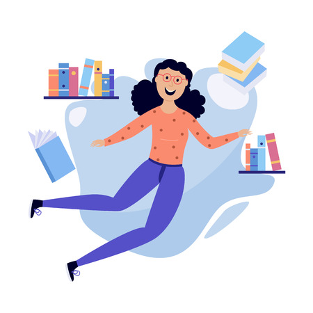 Young cheerful woman in casual clothing flying in blue cloud with a lot of book, papers and documents. Accessibility of information concept. Female happy girl reading and studying. Vector illustration Ilustração