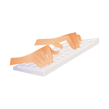 Human hands typing on computer keyboard pushing buttons with fingers isolated on white background. Cartoon vector illustration of two wrists typing on pc. Ilustração