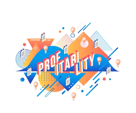 Profitability isometric text design on abstract geometric background with fluid blue and orange color shapes and textures. Isolated vector illustration of volumetric letters and business elements.