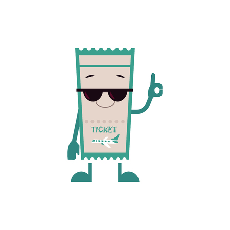 Cheerful airplane ticket character in sunglasses with arms and legs showing ok gesture with happy facial expresion. Cartoon airline boarding pass document, symbol travelling, tourism vacation. Vector Stock Illustratie