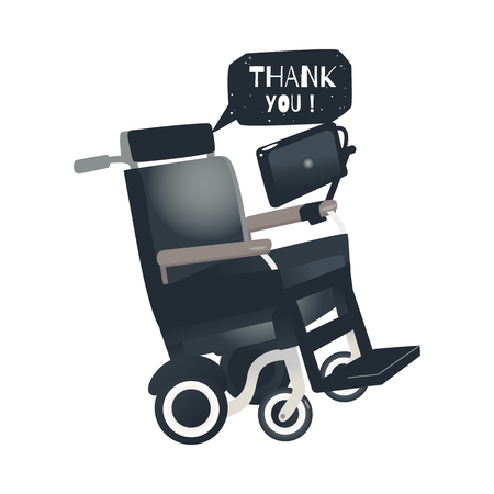 Cartoon Stephen Hawking - famous scientist wheelchair with laptop and thank you bubble. Science, space exploration symbol. Vector isolated illustration