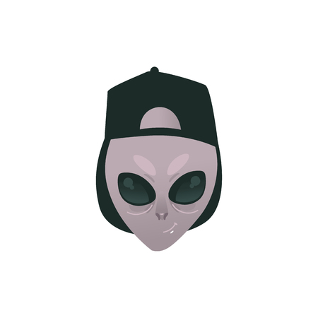 Friendly alien head in human cap - extraterrestrial humanoid smiling face with big deep black eyes isolated on white background. Cartoon vector illustration of UFO inhabitant