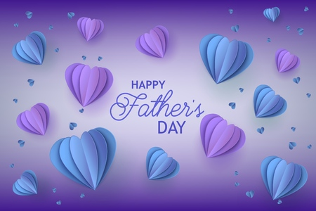 Fathers Day congratulation card with trendy blue and violet folded paper heart shapes and greeting sign on gradient background - holiday vector illustration with origami elements. Vettoriali