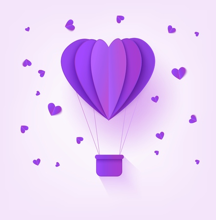 Folded violet paper hot air balloon in form of heart surrounded by little heart shapes on pastel background - romantic origami carton aerostat for greeting card in vector illustration.