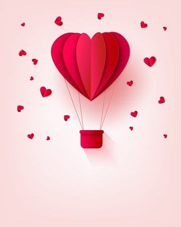 Folded red paper hot air balloon in form of heart surrounded by little heart shapes on pastel background with copy space. Romantic origami carton aerostat in vector illustration. Ilustração