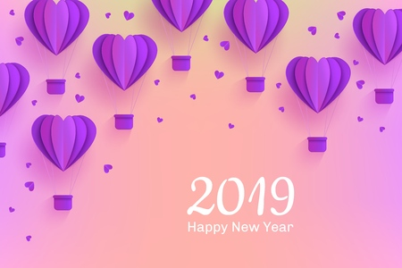 Happy New 2019 Year congratulation banner in trendy paper art style with folded origami violet hot air balloons in form of hearts and greeting sign on pastel gradient background, vector illustration.
