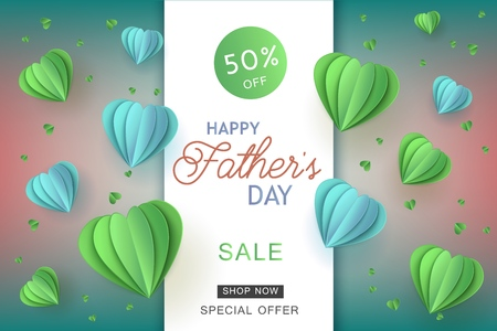 Blue and green heart shapes in paper art on gradient background for Fathers Day special offer banner - holiday vector illustration of abstract hearts made from paper or cardboard.