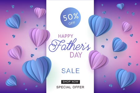 Blue and violet folded paper heart shapes and sign on gradient background for Fathers Day special offer banner - trendy origami shapes in promotional vector illustration.