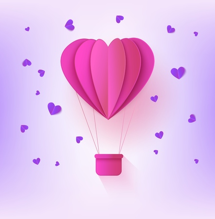 Pink folded paper hot air balloon in form of heart surrounded by little heart shapes on pastel violet background - romantic origami carton aerostat for greeting card in vector illustration. Ilustração