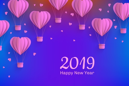 Paper art style banner with folded carton hot air balloons in form of hearts and greeting sign on dark blue gradient background for 2019 Happy New Year congratulation in vector illustration. Ilustração