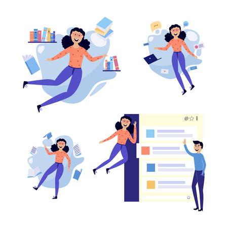 Mensen in informatieomgeving set - lachende platte mannelijke en vrouwelijke stripfiguren vliegen in de omgeving van informatiebronnen, documenten en berichten. Geïsoleerde vectorillustratie. Vector Illustratie