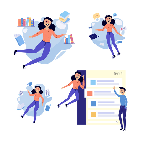 People in information environment set - smiling flat cartoon male and female characters flying in surroundings of information sources, documents and messages. Isolated vector illustration.