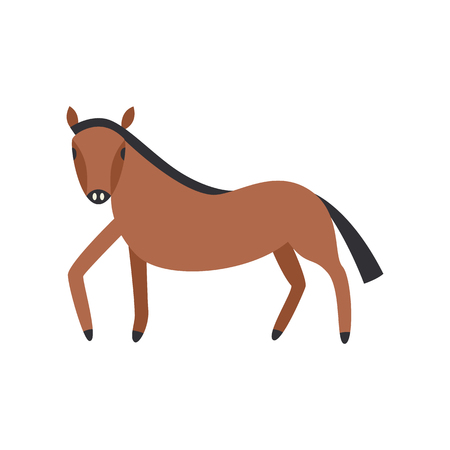 Bay horse full length isolated on white background. Cute farm animal side view in flat vector illustration. Domestic brown horse with black mane standing sideways.