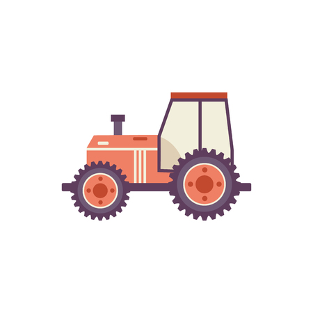 Red agricultural tractor isolated on white background - farm transportation for work on fields in flat cartoon style. Vector illustration of village wheeled machine side view.