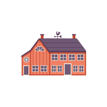 Red wooden farm barn in flat style isolated on white background. Agricultural building for livestock or equipment - colorful vector illustration of ranch house exterior. Illustration