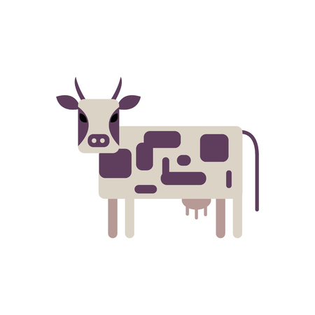 White and violet spotted cow in flat style isolated on white background - cute standing farm cattle domestic animal, side view. Milk livestock in colorful vector illustration.