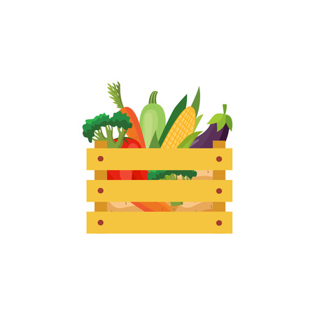 Ripe raw vegetables in wooden box Eggplants in ceramic pot, carrot and tomatos, broccoli icon. Violet healthy food vegetable with vitamins. dieting healthy life style. Vector illustration Illustration