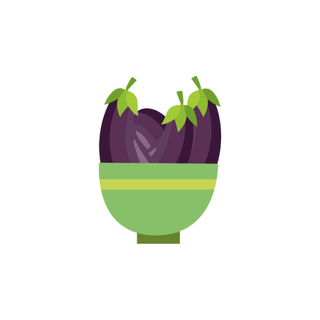 Ripe raw eggplants in ceramic pot icon. Violet healthy food, vegetable full of vitamins. Fresh nutritions source, dieting and healthy life style symbol. Vector flat illustration isolated