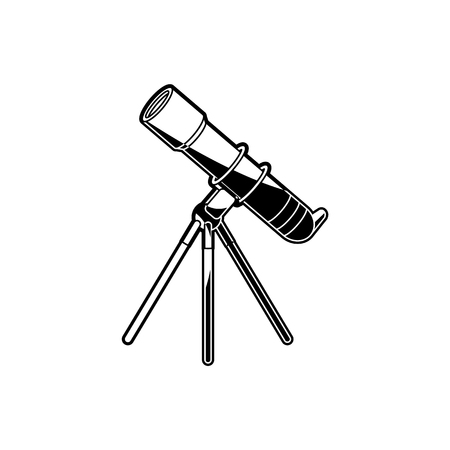 Telescope on tripod - observation equipment for outer space exploration isolated on white background. Technology for watching at cosmic bodies and planets in black and white vector illustration.
