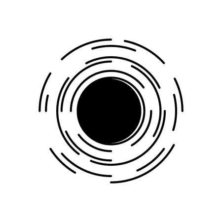 Black hole in universe symbol with spacetime distortion effect isolated on white background. Abstract vector illustration of space vortex - cosmic bodies falling into black hole.