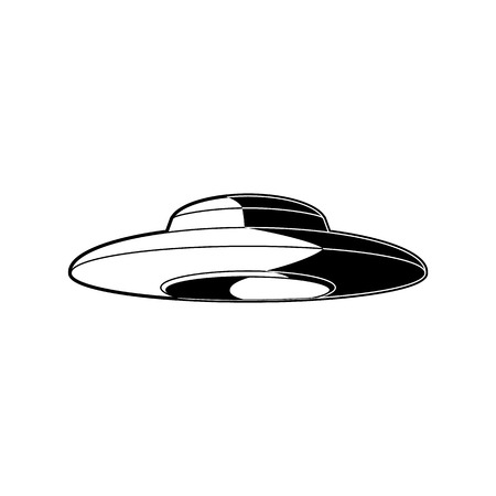 UFO alien spaceship with extraterrestrial visitors isolated on white background. Black and white cosmic object - vector illustration of flying spacecraft in form of saucer.