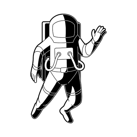 Cosmonaut in spacesuit flying in weightlessness in outer space isolated on white background. Black and white vector illustration of astronaut in zero gravity waving hand.
