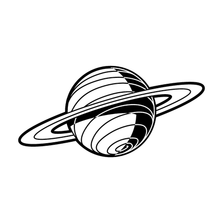 Planet Saturn with rings - celestial body of solar system isolated on white background. Black and white outer space astronomy object. Vector illustration of cosmos element. Ilustração