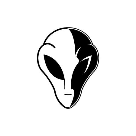 Cabeza o rostro alienígena extraterrestre en colores blanco y negro aislado sobre fondo blanco. Elemento del espacio exterior Habitante de ovnis. Ilustración de vector de habitante cósmico con grandes ojos negros.