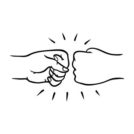 Dos manos humanas dando gesto de golpe de puño en el estilo de dibujo aislado sobre fondo blanco - ilustración de vector dibujado a mano de un par de muñecas saludándose con el puño juntos.