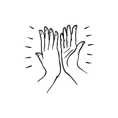 Gesto di mano di due persone che si danno il cinque nello stile di abbozzo isolato su priorità bassa bianca. Illustrazione di vettore di linea nera disegnata a mano delle palme delle mani che si uniscono insieme.