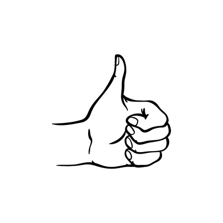 Human hand showing thumbs up gesture in sketch style isolated on white background - hand drawn black and white vector illustration of wrist with ok and like sign for success concept. Illustration