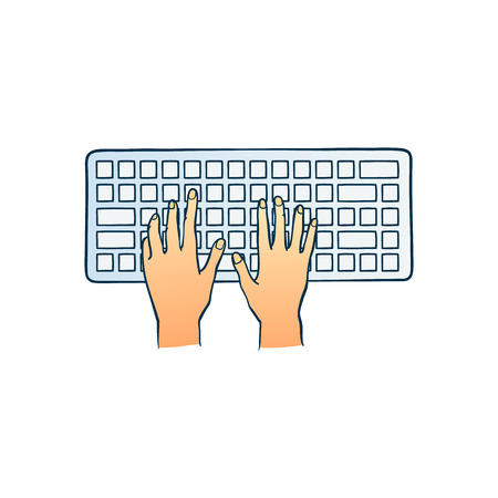 Human hands typing on computer keyboard pushing buttons with fingers in sketch style isolated on white background - hand drawn colorful vector illustration of two wrists typing on pc. Иллюстрация