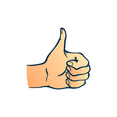 Human hand showing thumbs up gesture in sketch style isolated on white background - hand drawn colorful vector illustration of wrist with ok and like sign for success concept. Ilustração