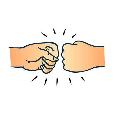 Two human hands giving fist bump gesture in sketch style isolated on white background. Hand drawn vector illustration of pair of wrists greeting each other with fist together.
