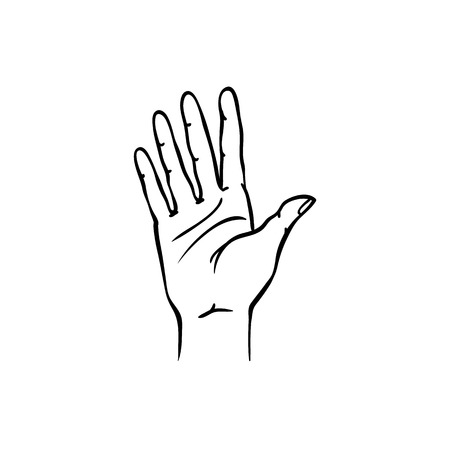 Human hand showing five fingers in sketch style isolated on white background. Hand drawn black and white vector illustration of open palm gesture with stop or hello meaning. Ilustração