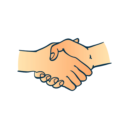 Two human hands shaking symbol in sketch style isolated on white background - hand drawn colorful greeting or business deal concept with wrists in handshake gesture.