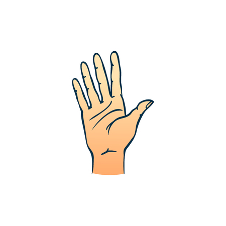 Human hand showing five fingers in sketch style isolated on white background - hand drawn colorful vector illustration of open palm gesture with stop or hello meaning. Ilustração