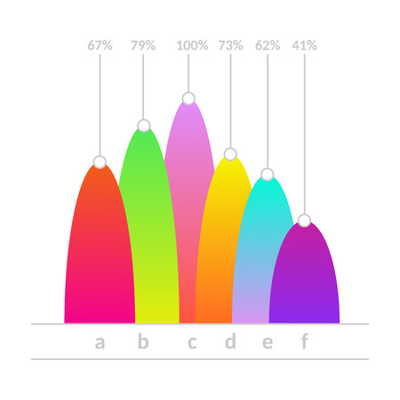 Business linear vertical histogram, bar chart with colored domes. Presentations, marketing and research infographics object for brochure, financial poster layout template design. Vector illustration Illustration