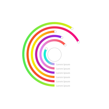 Business circle line diagram, chart with marks and numbers in green, blue and red color Presentations research infographics object. Design element for brochure, financial template. Vector illustration