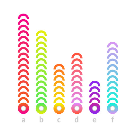 Business linear vertical histogram, bar chart with colored circles. Presentations, marketing and research infographics object for brochure, financial poster layout template design. Vector illustration