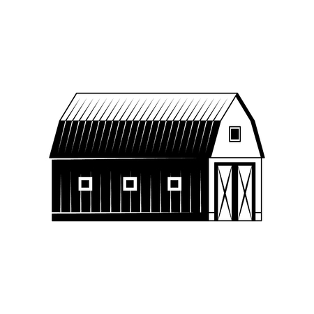 Farm barn black and white silhouette isolated on white background - wooden agricultural building for livestock or equipment. Vector illustration of ranch house exterior. Ilustração