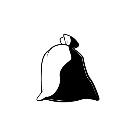 Full closed knotted sack monochrome silhouette - black and white symbol of tied canvas bag isolated on white background. Household or farming stuff in vector illustration. Illustration