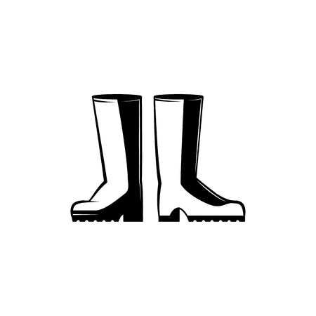 Pair of rubber boots monochrome silhouette - black and white icon of protective farm shoes for agricultural works. Seasonal waterproof footwear in vector illustration.