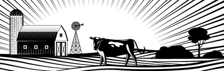 Farm barn with windmill and cow on countryside landscape with hills and fields monochrome silhouette - farmland with rural animal on rows of agricultural plants in vector illustration.